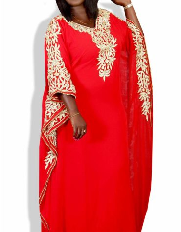 Golden Embroidery African Evening Gown Long Abaya Kaftan Dresses for Women