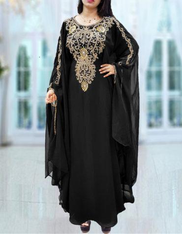 Dubai Kaftan for Women Beads work Maxi Dress Gown Formal Chiffon African Wear