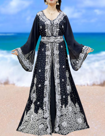 Wedding Abaya Long Maxi Formal Beaded Dubai Kaftan for Women