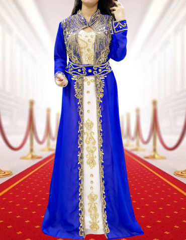 Plus Size Gold Beads Formal Kaftan with Jacket Wedding Guest Party wear for Women