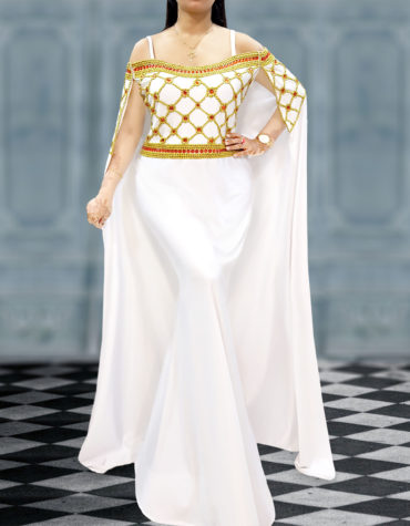 Off Shoulder Plus Size Party Wear Long Cape Formal African Dress Kaftans for Women