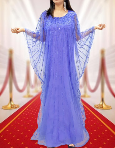 Sequin Caftan Gown with Sheer Sleeves Bridesmaid Chiffon African Dresses for Women