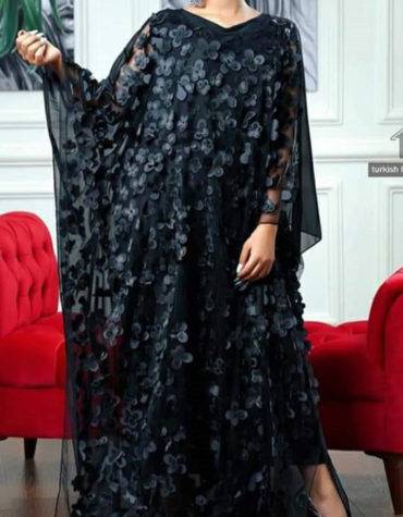 Elegent Black Floral Embroidery Work Long Maxi Party Dress Dubai Abaya Kaftan