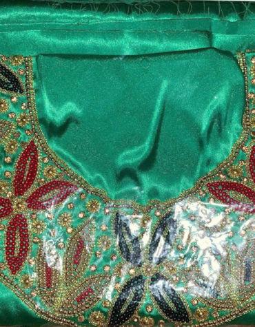 Shiny Light Weight Swiss Voile Dress Material with Gold Beads Embroidery