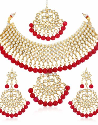 Gold Plated Kundan Pearl Fancy Choker Necklace Set Traditional Jewelry with Earrings for Women & Girls