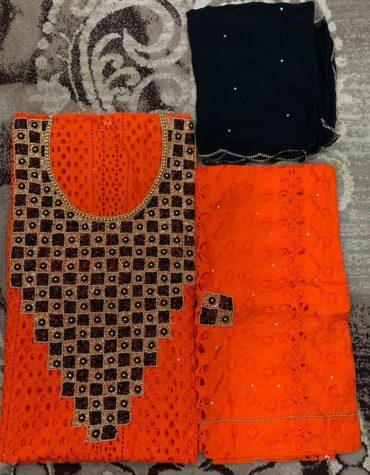 Cotton Orange Dry Lace 3 Pieces Beads Floral Design Work (DCL-043)