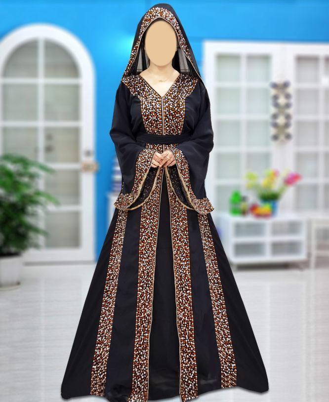 Dubai Abaya Unique Beaded V-Neck Black Designer Arabian Wedding Farasha Maxi Gown