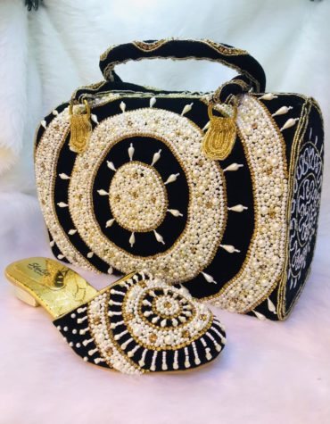 African Attire Beaded Evening Bags Wedding Purse with Sandal