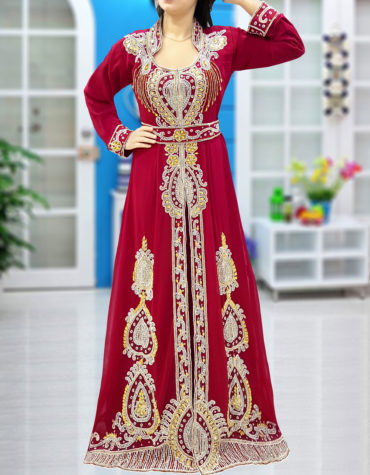 Wedding Abaya Long Maxi Formal Crystal Beaded Dubai Kaftan for Women