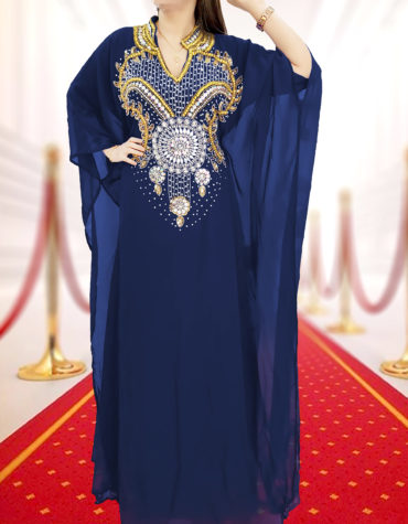 Embellished Wedding Moroccan Dress Plus Size Robe Dubai Kaftan Abaya for Women-Navy blue