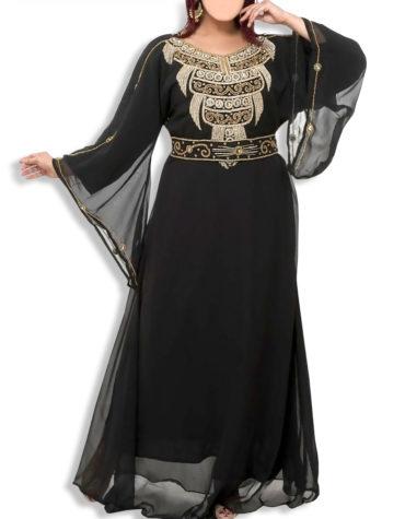 African Elegant Maxi Evening Dress For Women Beaded Moroccan Dubai Kaftan