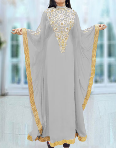 Caftan Dresses for Women Long Sleeve Formal Maxi Gown Evening African Dress-Light Grey
