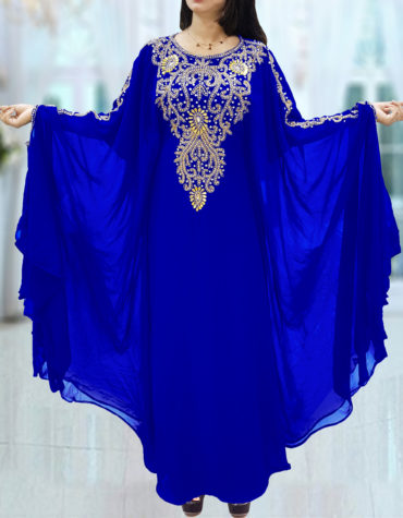 Dubai Kaftan for Women Beads work Maxi Dress Gown Formal Chiffon African Wear-Royal Blue