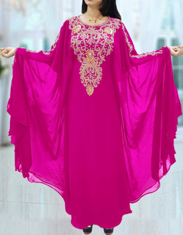 Dubai Kaftan for Women Beads work Maxi Dress Gown Formal Chiffon African Wear-Fuchsia