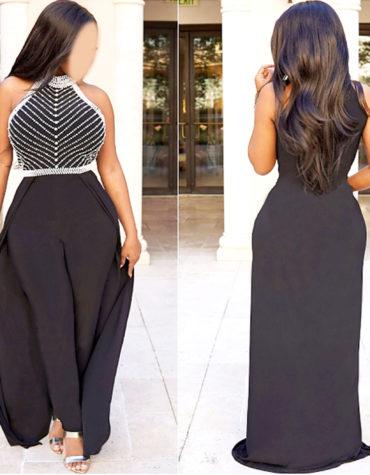 African Attire Clothing Collared Sleeveless Women Lycra Moroccan Jumpsuit kaftan