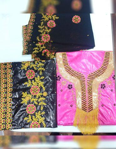 African Rich Bazin Getzner Golden & Embroidery Beaded Premium Dress Material