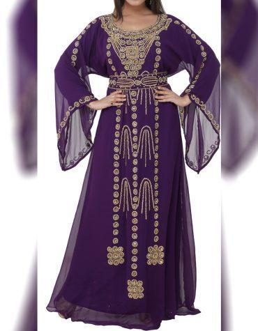 African Attire Kaftan Dress Party Wear Chiffon Fabric Rhinestone Work For Women