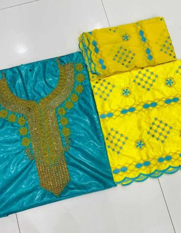 African Embroidery 100% Super Magnum Gold Getzner Dress Material Bazin