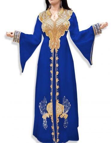 African Attire Bridesmaid Abaya Long Maxi Beaded Formal Dubai Kaftan for Women-Blue