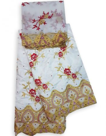 Latest Designer African Fully Embroidered 100% Super Magnum Gold Rich Bazin Women Dress Material For Women