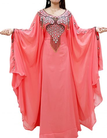 Elegant Abaya Jalabiya Maxi Gown Hand Work Beaded Dubai Kaftan Dress