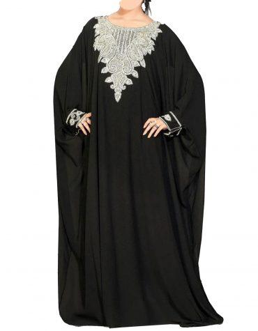 Elegant formal Silver Beaded Gown African Dresses for Women Moroccan kaftan