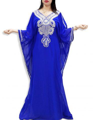 Latest African Attire New Designer Silver Beaded Chiffon Kaftan Dress For Women