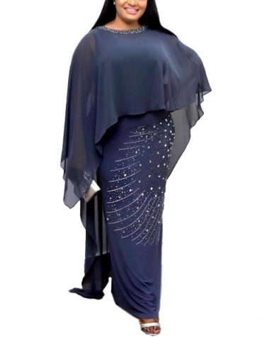 Poncho Style Silver Beaded Work Party Gown African Dress For Women Moroccan kaftan
