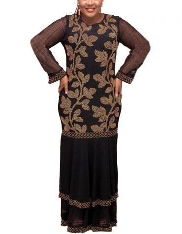 New Style Golden Beaded Work Party Gown African Dress For Women Designer kaftan